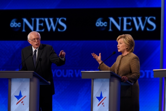 ABC NEWS - 12/19/15 - ABC News coverage of the Democratic Presidential debate from St. Anselm College in Manchester, NH, airing Saturday, Dec. 19, 2015 on the ABC Television Network and all ABC News platforms. (ABC/ Ida Mae Astute) BERNIE SANDERS, HILLARY CLINTON